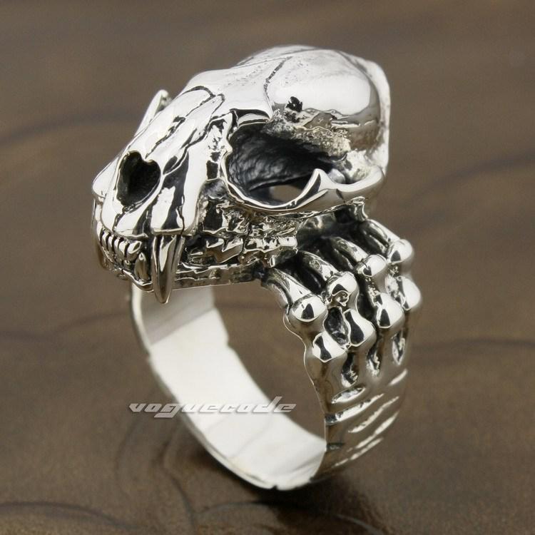 925 Sterling Silver Tiger Skull Openable Tusk Fang Mens Biker Ring 8D003(China (Mainland))