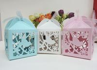 laser cut candy box ,love bird candy box .wedding box.baby box with ribbon(6*6*9H cm