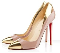 Patent leather pointed high-heeled leather shoes mixed colors temperament singles