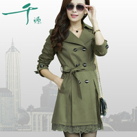 Women's trench female 2013 autumn outerwear spring and autumn slim lace long design women's plus size