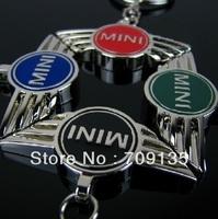 Free shipping 70pcs/lot 3 colors mixed, MINI COOPER Car Logo key chain, alloy keychain badge
