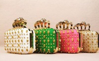 2013 American punk rivet studded skull Wristlet dinner bag chain bag Crossbody Bag