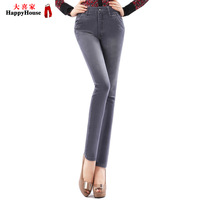 Dark gray cotton high waist tight fitting elastic slim skinny jeans pencil pants female 2013