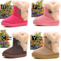2014 new children snow boots kids winter shoes girls boys shoes warm boots fur and bottons