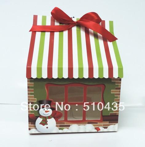Christmas cupcake box .4pc cupcake box.house box(insert 6cm diameter(China (Mainland))