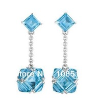 Derongems_Fine Jewelry_Customized Luxury Natural Blue Topaz Party Drop Earring_S925 Solid Silver Earrings_Factory Directly Sales