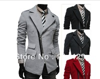 2013 Mens Fitted Collar Zipper Formal Fleece Windbreaker Coats Jackets Outwear Black Red Grey Free Ship