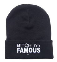 BITCH I'M FAMOUS Beanies Bitch Beanies for women men I'M FAMOUS hat Street hot sale Grey Black color