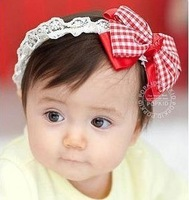 free shipping 4pcs/lot Baby red bow child  hair accessory cute beautiful  baby hair bands
