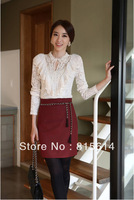 New arrive Ladies' elegant sexy white knitted blouse vintage long sleeve o neck lace shirt embroidery shirt S-XXL 5sizes