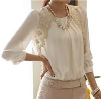 New 2014 Hot Sale Spring Summer Blouses Women long Sleeve Lace Shirts Elegant Sexy Woman Lady Chiffon Tops Blusas Femininas