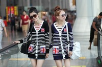 Free shipping V-neck casual knitted cardigan sweater 2013 women for Spring and Autumn Red/black/blue/darkblue