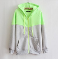 [Magic] 2 color mix hoodies 2013 fashion women hoody cotton hoodie zip pocket fleece sweatshirts for women 4 color free shipping