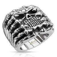Wholesale Lot Men's Stainless Steel Skull Wide Cast Skeleton Ring - Band Width 26mm - Sizes: 9-12