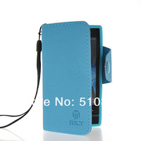 Wholesale and retail fashion luxury new flip leather case the durable cover FOR SONY XPERIA U ST25I  FREE SHIPPING