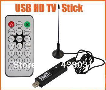 WANDTV DVB T Digital TV Tuner,Stick Support H2.64 Mpeg4 Mini USB Reciever Full of HD Black Color With Remote Control