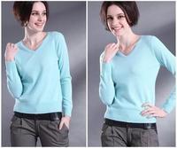 2013 V-neck basic shirt slim basic sweater female sweater pullover sweater cashmere sweater women's