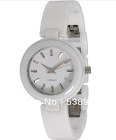 free shoping!NEW NY8550 8550 LADIES Gleaming WHITE DIAL & STRAP CERAMIC WATCH swiss movement Sapphire glass Original box
