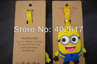 wholesale 2013newest Despicable Me2 The Minion Luggage Tag PVC Baggage Tag Color Randomly 300pcs free shipping
