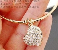 Fashion brief women's full rhinestone heart cutout carved  gold silver two-color  bracelet men jewelry bracelets & bangles A0059