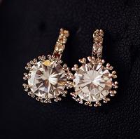 +++AAA Zircon Bride Earrings Round Shape Lasting Shine 18K Real Gold Plating LOVE Earrings Wedding Jewelry SG106