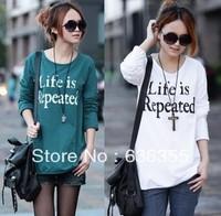 2013 letter autumn long-sleeve female t-shirt loose autumn white 100% cotton o-neck casual plus size Free shipping
