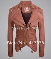 2013  new THOOO Women Rock Punk Rivets oem Studded Blazer Coat PU Leather Motorcycle Spiked Cropped Jacket