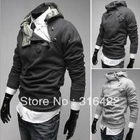 Men's outerwear Sweater Hoodie Jacket High Rabbit Fur Collar Coats fashion casual dust coat Sleeve clothes 5 Colors Size:M-XXXL