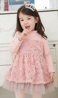 2013 Autumn girl dress Princess dress Party roses design baby thicken dresses pink/white