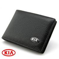 Kia driver's license rideability cards set 2 1 personalized fashion genuine leather card holder emblem car documents folder