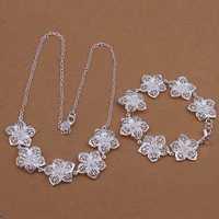 Wholesale Sterling 925 Silver Jewelry Set,925 Silver Fashion Jewelry,Flower Necklace+Bracelet Set SMTS452