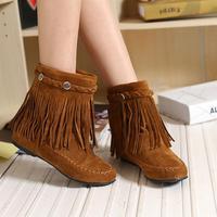 women's autumn fashion shoes rivet boots flat heel boots tassel rivet round toe women's elevator shoes