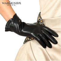 Warmen genuine leather gloves women's thermal winter fashion short design laciness sheepskin gloves l001