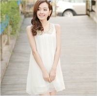 Sleeveless spaghetti strap chiffon shirt short design high quality chiffon one-piece dress belt