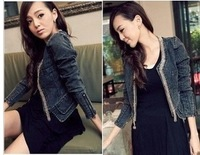Denim short jacket top mushroom women's autumn HSTYLE