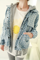 Some time autumn velvet thickening hooded denim polka dot twinset outerwear