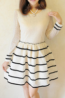 2013 autumn elegant princess sweet peter pan collar black-and-white patchwork lace long-sleeve dress