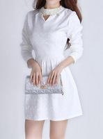 2013 autumn sweet princess elegant slim small turtleneck long-sleeve dress beading