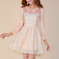 2013 autumn female short design bridesmaid formal dress sweet ladies lace princess turn-down collar long-sleeve dress basic