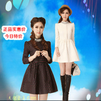Long-sleeve dress puff skirt one-piece dress high waist one-piece dress princess one-piece dress turtleneck autumn and winter