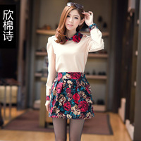 Cotton winter sweet color block patchwork turn-down collar long-sleeve basic princess twinset one-piece dress