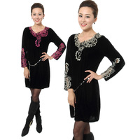 Quinquagenarian autumn female plus size plus size mother clothing 100% cotton print velvet slim one-piece dress