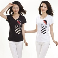 Women's 2013 slim flower hat short-sleeve t-shirt female basic cotton shirt