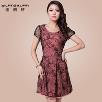 Summer women's 2013 elegant slim lace patchwork gauze one-piece dress