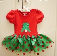 Free shipping New 2014 Christmas dress for girls summer baby dresses short sleeve cotton dot casual children dress retail BBS095
