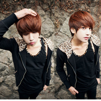 2013 men's clothing spring and autumn sweatshirt spring leopard print outerwear male clothes