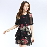 Summer half sleeve chiffon beading pleated one-piece dress female h3843