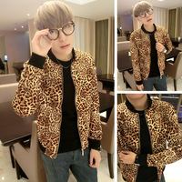 Men's clothing leopard print design short frock outerwear male fashion jacket