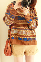 Autumn new arrival 2013 preppy style british style vintage jacquard batwing sleeve loose hooded sweater