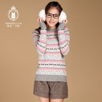 Autumn and winter preppy style sweet vintage jacquard pullover sweater outerwear young girl school wear top